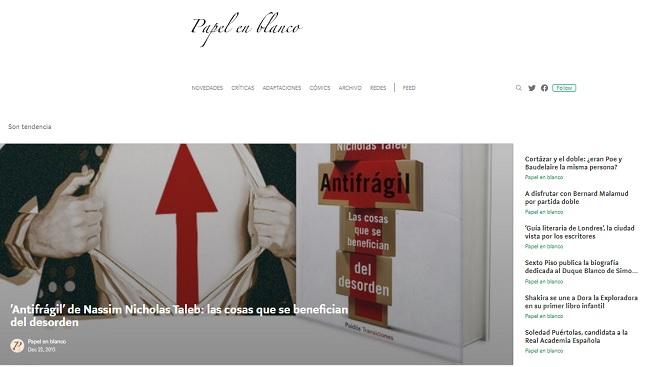 Blog de reseñas- Papel en Blanco